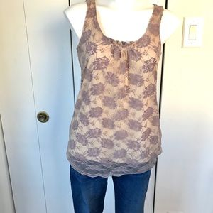 Pale Lilac Lace Cabi Sleeveless Blouse- S